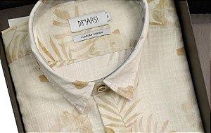 Camisa Floral Dimarsi - Sem Bolso - Manga Curta - Algodão Egípcio - Ref. 8811 Bege