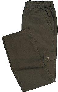 Calça de Elástico Stargriff - Com Zipper e Botão - Contém bolso lateral cargo - 100% Algodão - Ref. 832 Verde