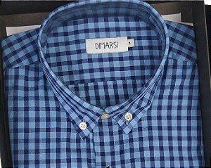 Camisa Dimarsi - Manga Curta - (Sem Bolso) 100% Algodão - Ref. 8845 Xadrez Azul