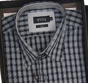 Camisa Dimarsi Com Bolso - Manga Curta - Fio 60 - 100% Algodão - Ref. 8649PR Xadrez