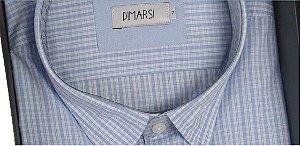 Camisa Dimarsi - Com Bolso - Manga Curta - 100% Algodão - Ref. 8265 Xadrez Azul