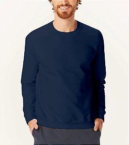 Blusão Felpado de Moletom Masculina Malwee - 100% Algodão - Ref. 6665 Marinho