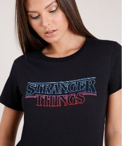 T-SHIRT STRANGER THINGS - preta