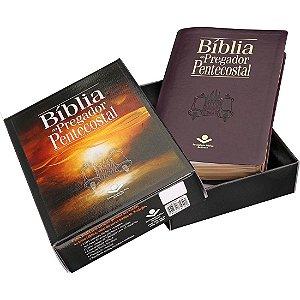 Bíblia Sagrada Pregador Pentecostal + Caixa Índice Promoção cor preta ou vinho