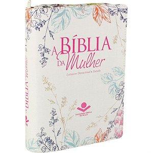 A Bíblia Da Mulher Zíper Capa bege florida