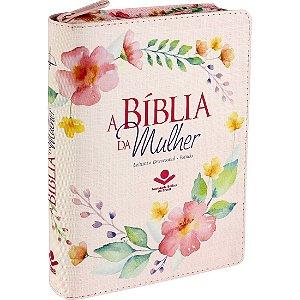 A Bíblia da Mulher com zíper rosa florida