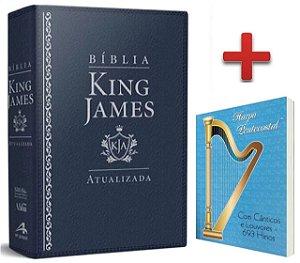Bíblia De Estudo King James Atualizada - Capa Luxo Azul + Harpa