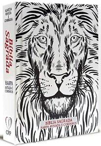 Bíblia Com Harpa Letra Média 16 Cm Branca Leão