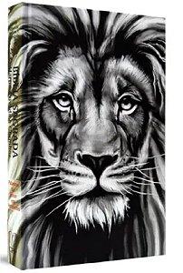 Bíblia capa dura 21 cm cpp capa leão PB com harpa