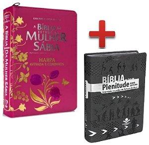 Bíblia De Estudo Plenitude + Bíblia Da Mulher Sábia Zíper