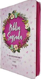 Bíblia Sagrada NVI Gigante - Capa Zíper Estampada Rosa
