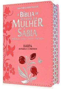 Bíblia De Estudo Mulher Sábia Letra Grande Harpa  tulipa rosa