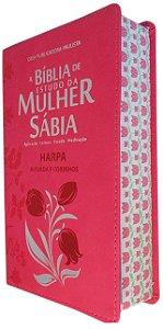 Bíblia De Estudo Mulher Sábia Letra Grande Harpa  pink