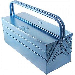 Caixa De Ferramentas Sanfonada Azul 5 Gavetas