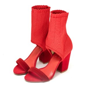 Sandália Louth Meia Salto Bloco Vermelha