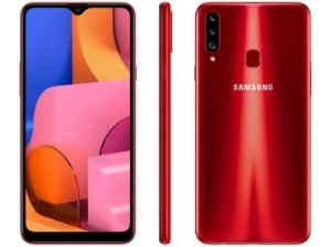 "Smartphone Samsung Galaxy A20s 32GB Vermelho 4G - 3GB RAM Tela 6,5"" Câm. Tripla + Câm. Selfie 8MP"