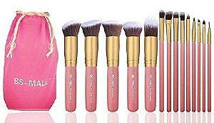 Kit pinceis BS-Mall com 14 unidades Rosa e dourado+ necessaire