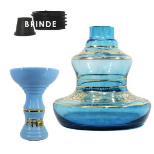 KIT Rosh Pro Hookah + Vaso Shisha Glass Style - Aquamamrine