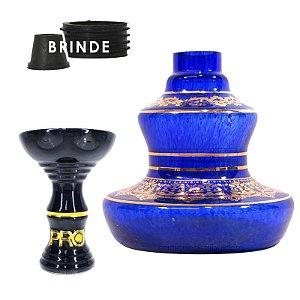 KIT Rosh Pro Hookah + Vaso Shisha Glass Style - Azul Safira
