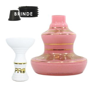 KIT Rosh Pro Hookah + Vaso Shisha Glass Style - Branco-Rosa