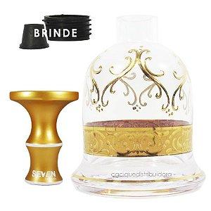 KIT Rosh Seven + Vaso Bless York - Dourado-Transparente