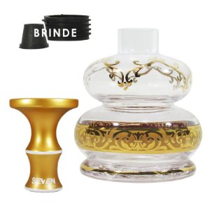 Rosh Seven+Vaso Bless Dome -Dourado - Transparente