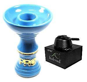 Rosh Pro Hookah Azul Bebê/Dourado + Kaloud Lotus - Preto