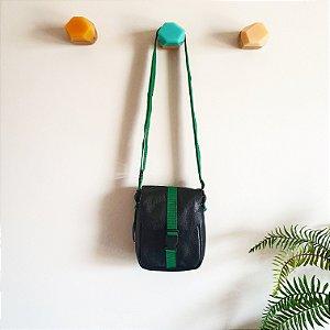 Bolsa Bangu Preto com Verde