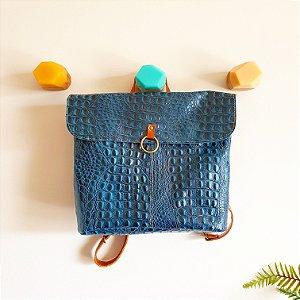 Bolsa Barra Verde Croco Azul com Caramelo