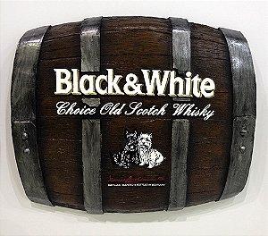 Barril Horizontal de parede em fibra decorativo - Black & White Whisky