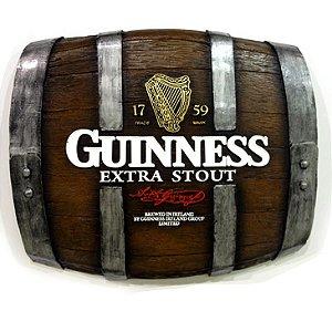 Barril Horizontal de parede em fibra decorativo - Guinness Cerveja