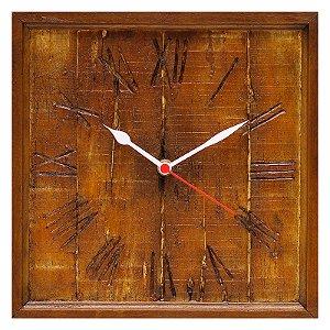Relógio de parede KG quadrado em fibra - Rústico