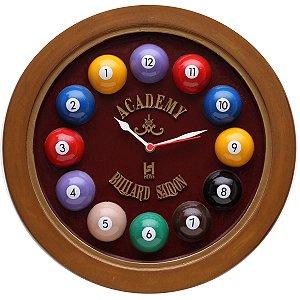 Relógio decorativo KG de parede em fibra - Horário Billiard Bordô