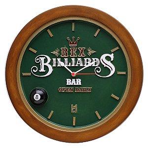 Relógio decorativo KG de parede em fibra - Billiard REX Verde