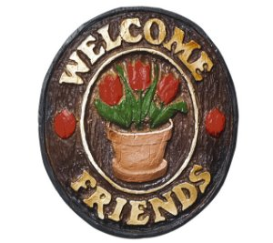 Placa KG Welcome de parede em resina - Welcome Friends Tulipa (21 x 25 cm)