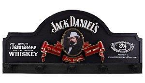 Placa KG Jack decorativa em fibra - Jack Danniels cor Preta Botão