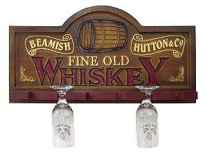Placa KG Whisky decorativa em fibra - Whisky - Suporte Copos / Porta-Espetos