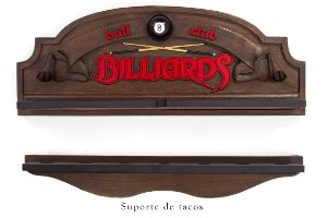 Placa Porta-tacos KG Billiards decorativa em fibra - Ball 8 Club Billiards - Porta-Tacos Sinuca + Suporte