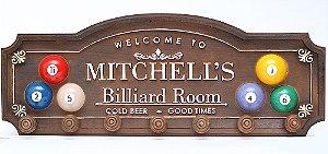 Placa KG Mitchell´s decorativa em fibra - Mitchell´s Billiard Room - Botão