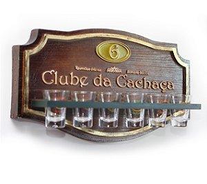 Placa KG Clube decorativa em fibra - Clube da Cachaça - Suporte Copos + Copos do Clube da Cachaça