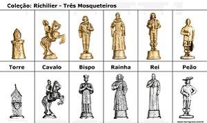 Peças de Xadrez Liga Metálica - Coleção 3 Mosqueteiros - Richilier (32 peças)
