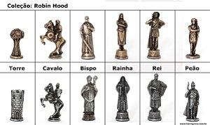 Peças de Xadrez Liga Metálica - Coleção Robin Hood (32 peças)