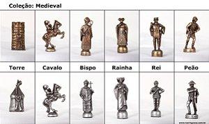Peças de Xadrez Liga Metálica - Coleção Medieval (32 peças)