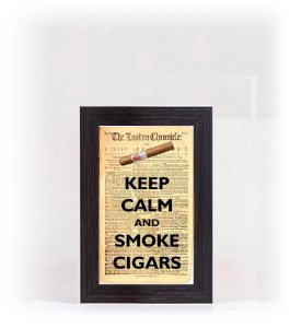 Quadro Porta Anílha Mini - Keep Calm Cigar