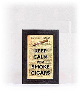 Quadro Porta Anílha Mini - Keep Calm Cigar