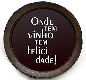 Quadro KG Porta Rolhas Redondo Felicidade - Grande