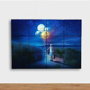 Painel Decorativo Menina com Planetas