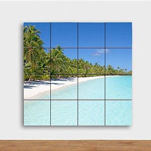 Painel Decorativo Praia e Coqueiros - Quadrado