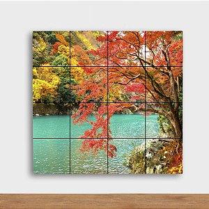 Painel Decorativo Lagoa no Outono - Quadrado