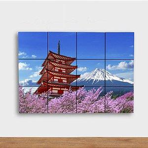 Painel Decorativo Fuji com Sakuras